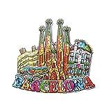 Barcelona España 3D Mosaico Sagrada Familia Catedral Refrigerador Imán Recuerdos Turísticos Resina Pegatinas Magnéticas Imán de Nevera Hogar y Cocina Decoración de China