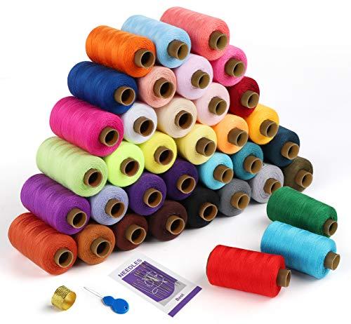 Agoer 36X 548,6 metros de hilo de poliéster para máquina de coser, 36 colores, kit de herramientas para coser overlock y coser a mano