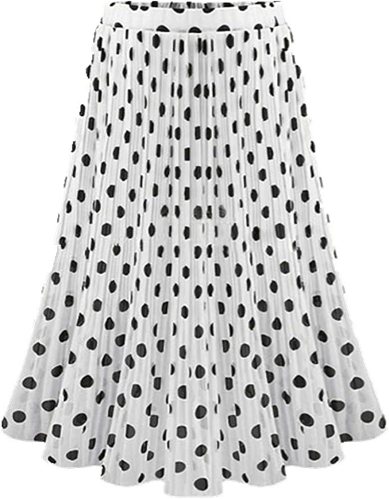 Ladies Skirts Dot Skirt Women Summer Elastic Waist