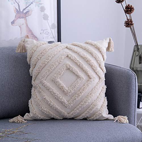 TENGXI Funda de Cojín con Borlas Geométrico para Decoración del Hogar Fundas de Almohada de Color Beige Sólido Tejido para Sofá O Silla Estar Dormitorio 45 x 45cm