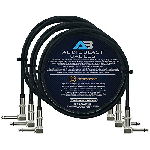 Audioblast - 3 Units - 2 Foot - HQ-1 - Ultra Flexible - Dual Shielded (100%) - Guitar Instrument Effects Pedal Patch Cable w/Eminence Right-Angled ¼ inch (6.35mm) TS Plugs & Double Staggered Boots