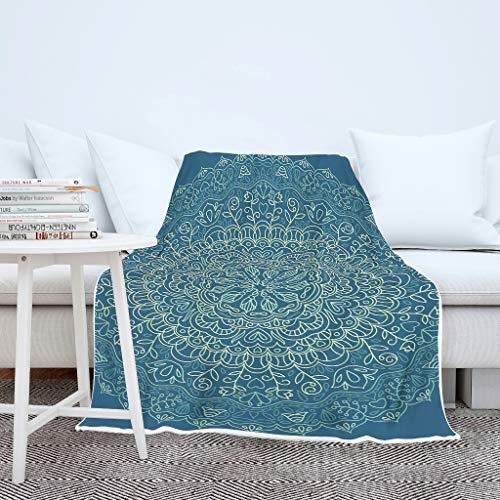 O2ECH-8 Blanket donkerblauwe mandala-patroon druk microvezel twee maten plafonds - strepen vrije tijd dragen voor tiener