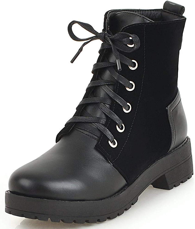 Gcanwea Women's Trendy Round Toe Low Block Heel Platform Lace-up Short Martin Boots Yellow 5 M US