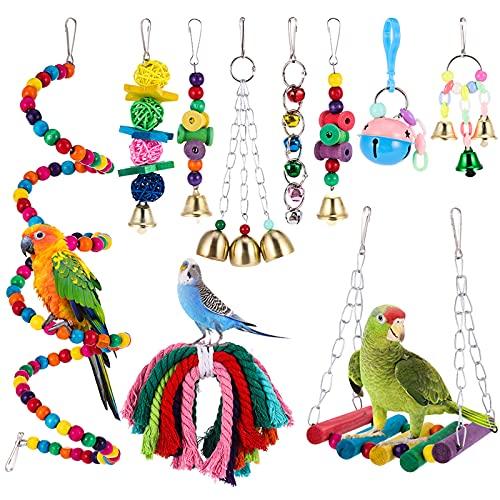 Auidy_6TXD Giochi per Uccelli pappagalli, 10 Pezzi Trespoli e posatoi Giocattoli Gabbia Pappagallo in Legno Giocattoli Set Campana per Piccoli e Medio Uccelli Parrocchetti