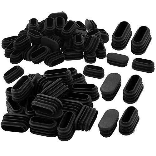Limeow Cuscinetti protettivi per le gambe della sedia Tubo di Inserimento Tappo Nero Tubo Ovale in Plastica Mobili Tappi per Sedie 100 Pezzi per gamba sedia proteggi-pavimento, proteggi sedia Nero