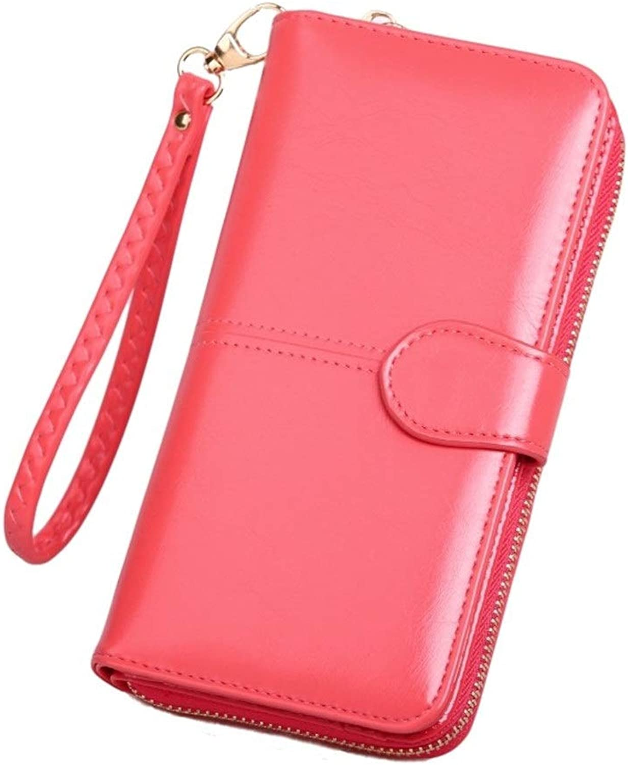 Sturdy New Women Long Zipper Purse PU Leather Card Wallet Ladies Large Capacity Credit Card Holder Stylish Clutch Purse Large Capacity (color   Red 2, Size   Feer Size)