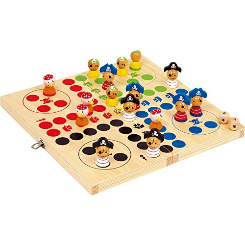 small foot company- Ludo Isla Pirata de Madera Natural FSC 100% certificada, tableros de Juego Plegables de Diferentes tamaños. Juguetes, Multicolor (Small Foot by Legler 10951)