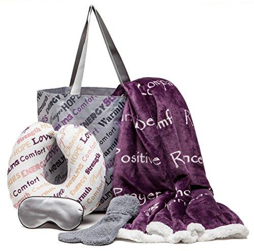 Chanasya 5-Piece Warm Hugs Positive Energy Healing Thoughts Comfort Caring Message Print Combo Gift Pack Throw Blanket, Neck Pillow, Eye Mask, Tote Bag, Socks - for Women Men Cancer Hospital Aubergine
