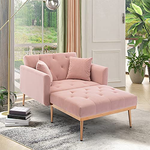 Velvet 2 in 1 Chaise Lounge Chair Indoor, Modern Single Sofa Bed with Two Pillows, Recliner Chair with 3 Adjustable Angles, Convertible Sleeper Chair for Living Room and Bedroom (Pink)