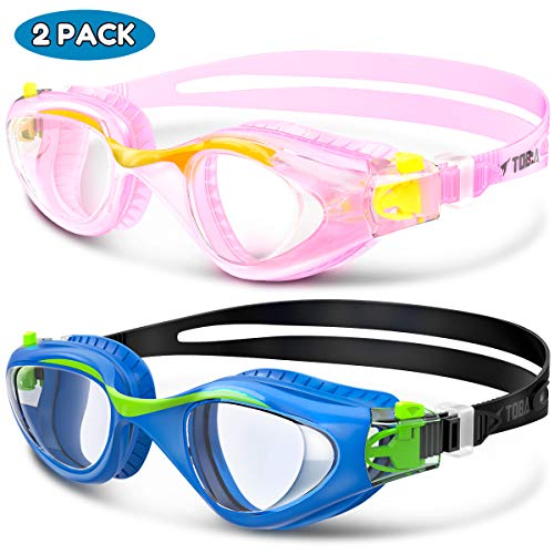 Swim Goggles, 2 Pack Kids Goggles for Children and Teens Toddler, Anti-Fog Anti-UV Youth Swimming Goggles, Leak Proof, Soft Silicone Frame Swim Glasses with Portable Case, for 3-16 Y/O - Combo B