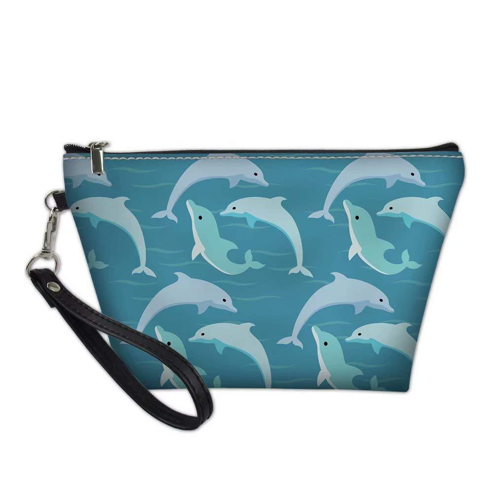 3. Dolphin Print Women Travel Cosmetic Bag