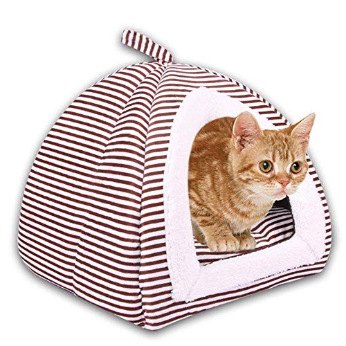 Cat Bed House, Soft Self-Warming 2-in-1 Opvouwbaar Comfortabele Triangle kat Puppy Dog Bed Machinewasbaar Tent House Comfortabel for Sleeping Winter (36x36x42cm, koffie) XIUYU