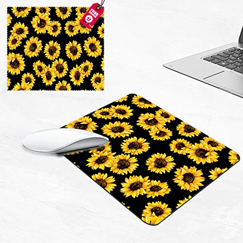 Mouse Pad,Sunflower Design Rectangular Non-Slip Rubber Mouse Pad and Microfiber Glasses Cloth, Mouse Pad for Laptop,Computers & Office (9.4 x 7.87 x 0.1 Inch)