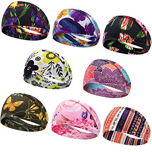 Headbands for Women, Bohemian Style Yoga Elastic Headwraps Head Wrap Hair Band 8 Pack (Style-5 (8-Pack))