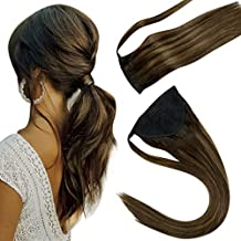 LaaVoo Balayage Ponytail Clip in Human Hair Extensions 14Inch Dark Brown Highlight with Medium Brown Ombre Ponytail Hair Piece for Women 70g
