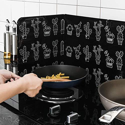 Tianhaik Protector Contra Salpicaduras de Aceite Cocina Plegable Placa Deflectora de Aceite de 3 Lados para Cocinar Escudo Protector Integral