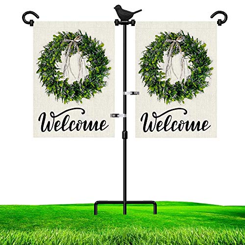 LAIRIES Garden Flag Stand Holder for Double Flags with Bird Garden Flag Stopper and Anti-Wind Clip 37''H x 30''W Black Wrought Iron Yard Season Flag Pole for 2 Flags Outdoor (2-Flag Bird)