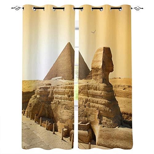 ZZYLCDT Cortinas Opacas de Dormitorio y Salón Ventanas,Pirámides De Egipto Amarillo Marrón Cortinas con Ojales Aislantes Térmicos para Decoración para Habitación 140x215cm x2