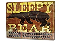カレンダー Perpetual Calendar Adventurer M.A. Allen Sleepy bear lodge Tin Metal Magnetic