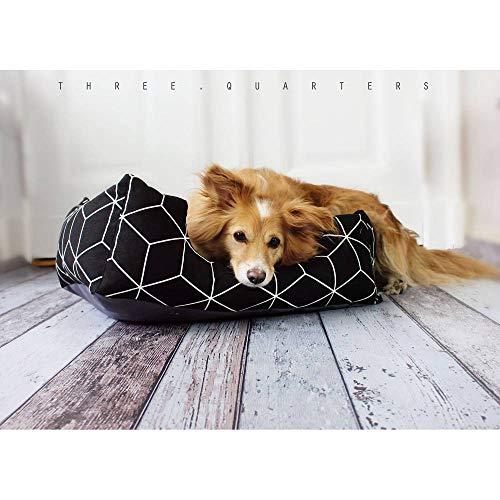Hundebett, Hundekissen, schwarz, Gitter, weiß, Hund, Katze, Welpe, gemütlich, weich, Katzenbett, Schlafplatz, Kissen, Muster, Designer