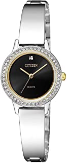 Citizen Women Black Dial Stainless Steel Band Watch - EJ6134-50E