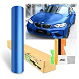 Free Tool Kit Matte Flat Metallic Blue Car Vinyl Wrap Sticker Decal Film Sheet with Air Release - 60'X600' (5FT X 50FT)