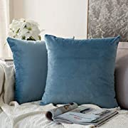 MIULEE Pack of 2 Velvet Pillow Covers Decorative Square Pillowcase Soft Solid Cushion Case for Sofa Bedroom Car