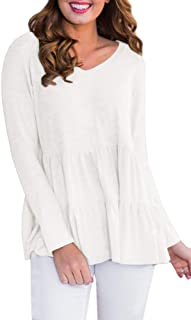 Women Peplum Hem Long Sleeve Tops