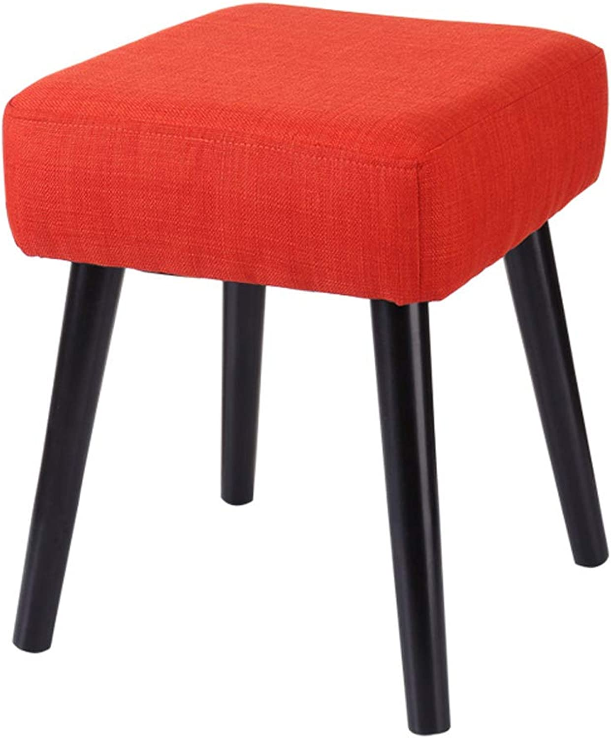 Square Stool Home Footstool, Fashion Fabric Sofa Bench, Simple Solid Wood shoes Bench, Suitable for Living Room, Bedroom (Red)