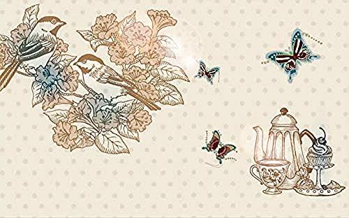 Papel pintado de flores y pájaros de estilo coreano dibujado a mano Pared Pintado Papel tapiz 3D Decoración dormitorio Fotomural de estar sala sofá mural-430cm×300cm