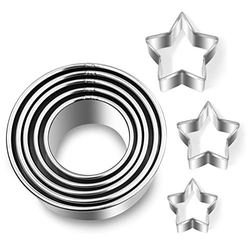 8Pcs Round Cookie Cutters with Stars Biscuit Cutter for Baking Kitchen, Mini Circle Cutter Stainless Steel Cake Dough Shape Molds