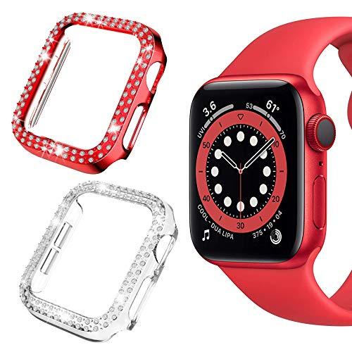 Jvchengxi Schutzhülle Kompatibel mit Apple Watch 40mm Series 6/SE/5/4, Strass Glitzer Harter PC Hülle Rahmen mit Diamant Stoßfest Kratzfest Bling Bumper Case für iWatch Series 6/5/4/SE (Rot+Klar)