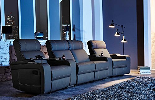 4er Cinema Sessel, Kunstleder schwarz, verstellbar durch Halbautomatik, Getränkehaltern, Stauraumfächern u. Ablage, Maße: B/H/T ca. 356/101/100 cm