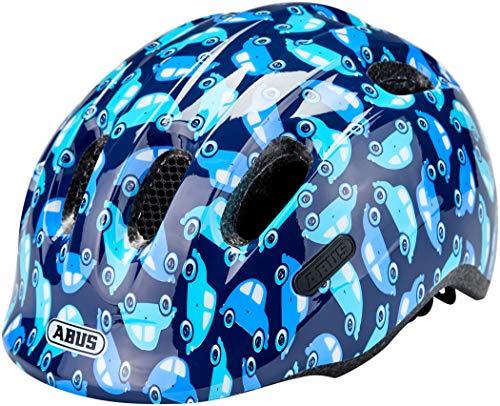 ABUS Unisex Jugend SMILEY 2.0 Fahrradhelm,Blau (blue car), S (45-50 cm)