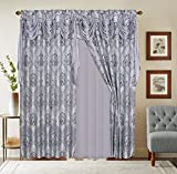 LinenTopia Classical Jacquard Window Drape Set, 2 Panels with Attached Valance + Sheer Backing, Fancy Victorian Style Damask Curtain Drape for Living Rooms, (Elsa, 84', 2Tone Gray/Lavender)