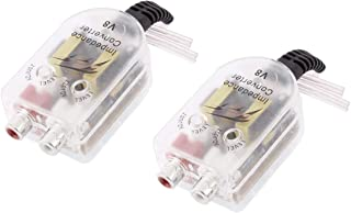 AUTUT 2 Pcs Car High to Low Impedance Converter Adapter Speaker Output to RCA Line Control