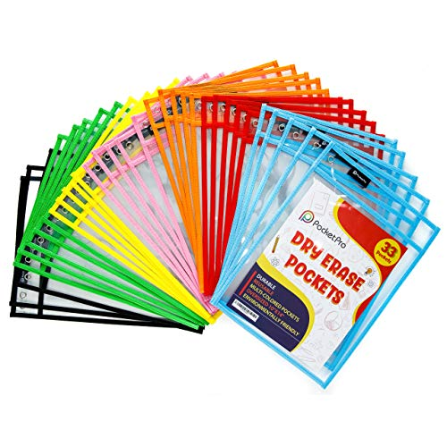 Pocket Pro 33 Dry Erase Pockets | Clear Plastic Reusable Sleeves | Multi-Colored Sheets | 10 x 14 inches | Teacher Supplies for Classroom Organization 33 Pack