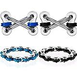 Gejoy 4 Pieces 12-Roller Bike Chain Fidget Toy Flippy Chain Stress Reducer Key Chain Fidget Toy for Autism ADD ADHD Sensory Kids (Blue, Black Series)