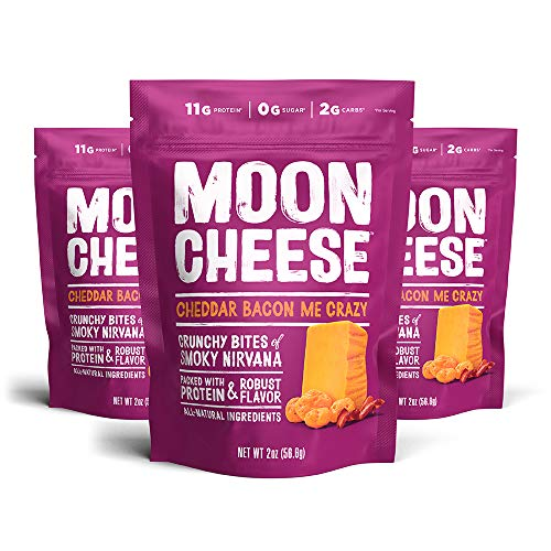 Moon Cheese Cheddar Bacon Me Crazy, 100% Bacon Cheddar Cheese Snacks, Crunchy Keto Food, Low Carb, High Protein, 2 oz. (3 Pack)