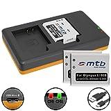 3 Batterie + Caricabatteria doppio (USB) per LI-90B Li-92B / Olympus Tough TG-1, TG-2, TG-3, TG-4 / Actioncam TG Tracker / SH-… v. lista - ( Cavo USB micro incluso)