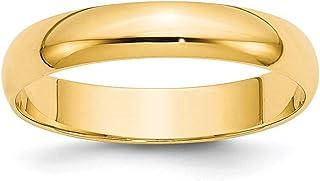 14ct oro Amarillo 4mm Ltw mitad Ronda Band Ring–Anillo Tamaño opciones gama: H a Z