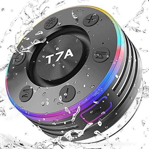 Altavoz Bluetooth Inalámbrico, Altavoces Portatil Bluetooth con Mic, Sonido Estéreo Potentes Altavoz Bluetooth 5.0, IPX7 Impermeable Altavoz Ducha con Ventosa, luz LED, Llamadas Manos Libres, Radio FM