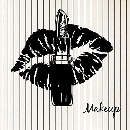 HGFDHG Maquillaje calcomanía de Pared lápiz Labial Hermosos Labios Dulces salón de Belleza Sala de Maquillaje decoración de Interiores Vinilo Pegatina de Vidrio Mujer Arte Mural