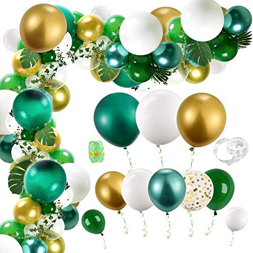 Auihiay 123 Pieces Safari Jungle Balloons Arch Kit with Palm Leaves, Ivy Vines and Balloon Strip for Baby Shower Birthday Tropical Party Decorations