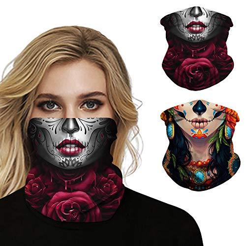Ainuno Skull Mask Half Face Bandana Mask for Women Halloween Mask Skeleton Printed Sexy Cloth Mask Neck Gaiter Balaclava Funny Fun Sugar Skull Candy Halloween Cosplay,Women Skull Mask 2 Pack