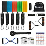 Wisemax Resistance Bands Set 15 Pack, Exercise Bands with Handles, Door Anchor, Ankle Straps, Figure 8 Stretch Cord for Training, Physical Therapy, Home Workout, Yoga, Pilates Stackable up to 150 lb