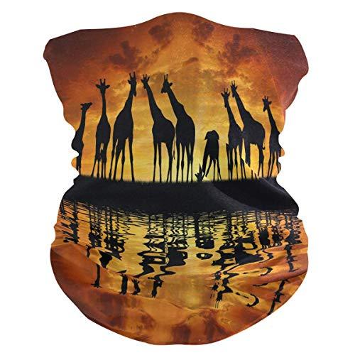 asdew987 Diadema de animales africanos jirafas puesta del sol Bandana máscara de cuello polaina bufanda mágica pasamontañas para mujeres, hombres, niños y niñas