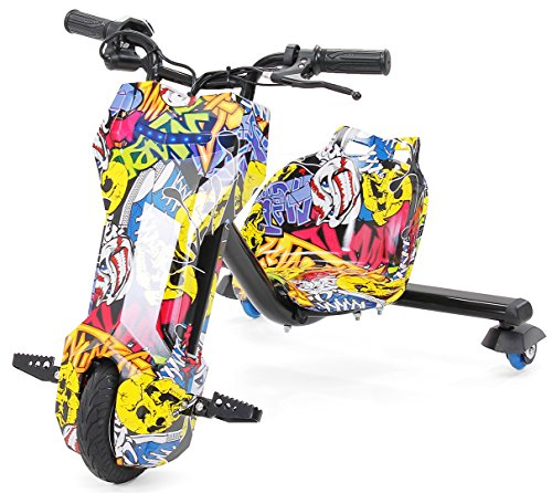 Actionbikes Motors Kinder Elektro Driftscooter 360 Grad - 250 Watt Elektromotor - 3 Geschwindigkeitsstufen - Speed Control (Grafit Gelb)