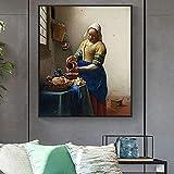 Pintura decorativa Pinturas de arte famosas de Johannes The Milkmaid en la pared, carteles e impresiones artísticos de la Edad de Oro holandesa, cuadros de obras de arte famosas, Cuadros 50x80cm