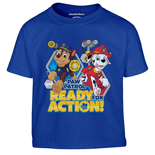 PAW PATROL - Ready for Action Chase und Marshall Kinder Jungen T-Shirt 116 Blau